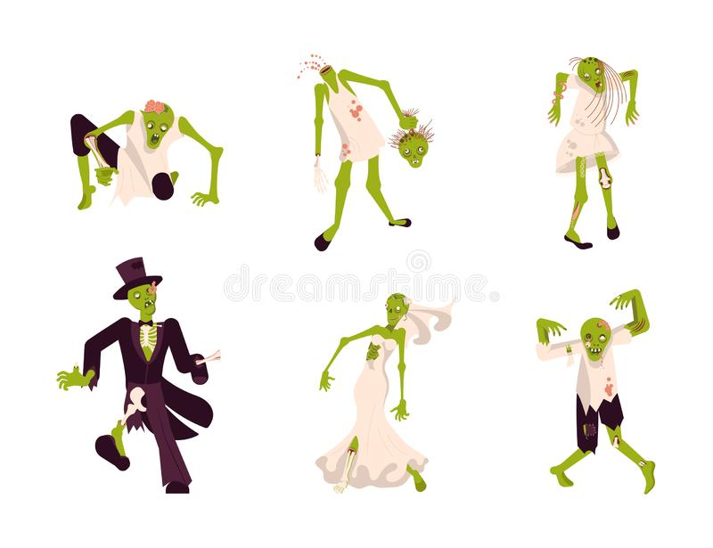Set of funny zombies vector illustration