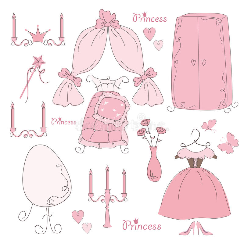 Set of furniture and accessory princess stock illustration