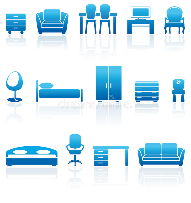 Set of furniture icons. Set of blue furniture icons