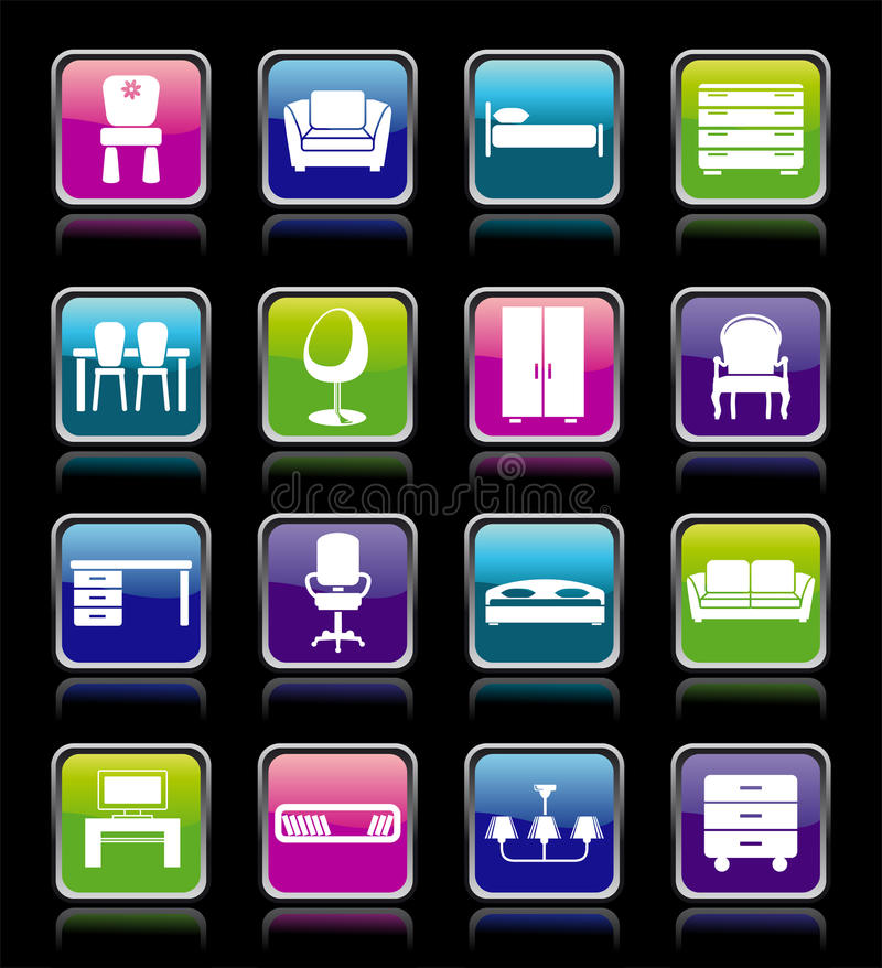 Download Set of furniture icons. stock vector. Image of house - 16327632