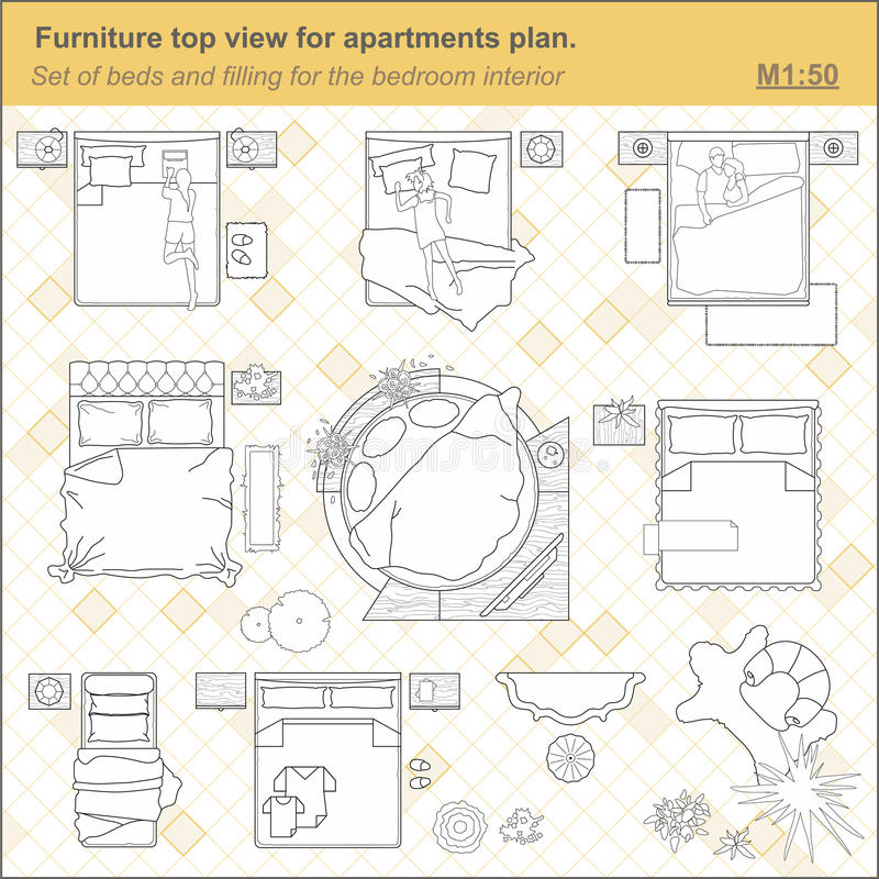 Bedroom Interior Design Set Furniture Vector ~ A set of furniture icons for the bedroom top view stock