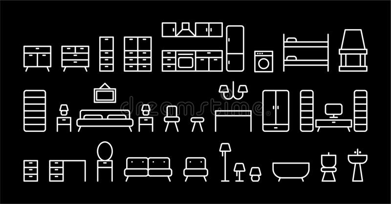 Download Set of furniture stock photo. Image of black, shelves - 34495788