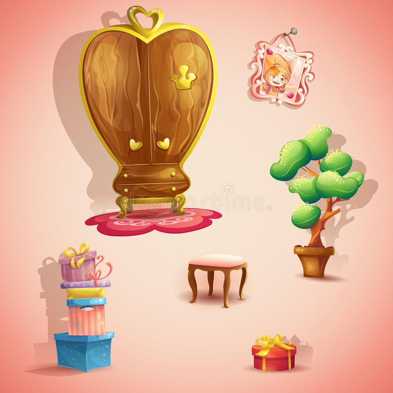 A set of furniture and items for the doll princess bedroom stock illustration