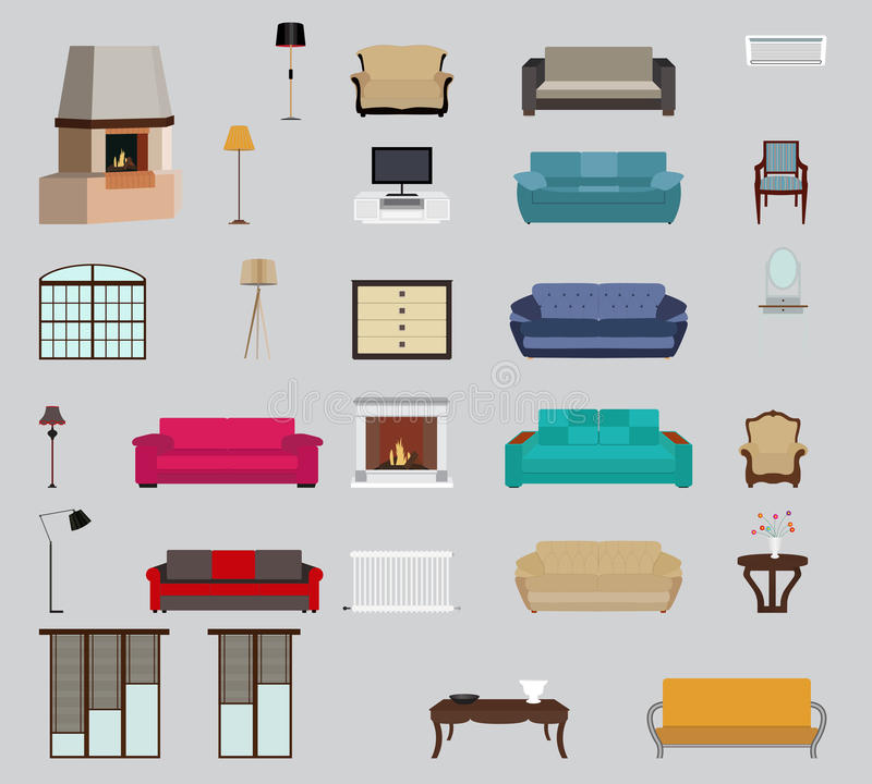 Set of Furniture. Modern Flat style Vector Illustration. stock illustration