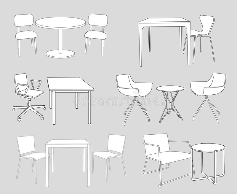 Set of furniture tables and chairs sketch vector stock vector download set of furniture tables and chairs sketch vector stock vector illustration of malvernweather Choice Image