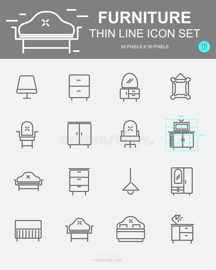Set of Furniture Vector Line Icons. Includes sofa, chair, bed, table and more. 50 x 50 Pixel. Set of Furniture Vector Line Icons. Includes sofa, chair, bed royalty free illustration