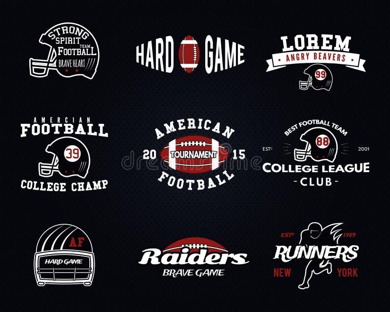 Set futbol amerykański, szkoła wyższa liga etykietki royalty ilustracja