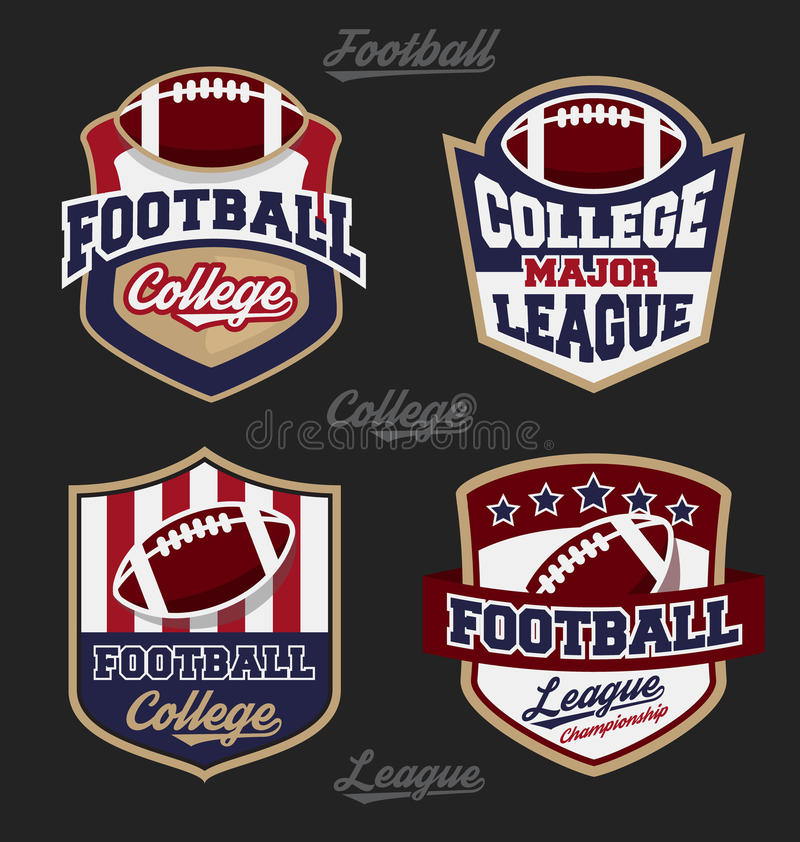 Set futbolowej szkoły wyższa odznaki ligowy logo ilustracja wektor