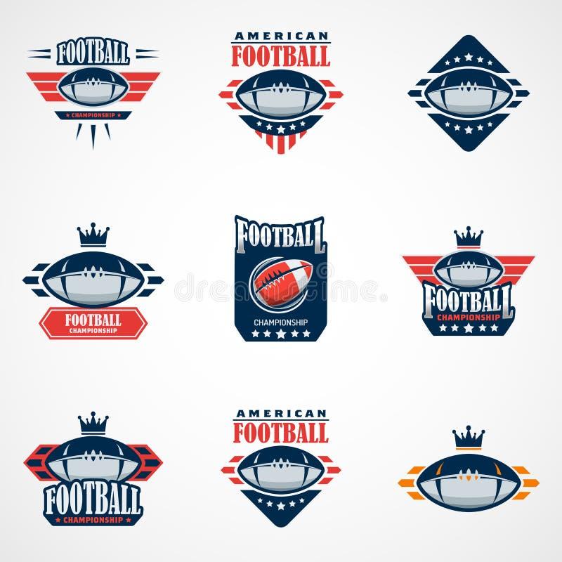 Set futbolu amerykańskiego loga szablon Wektorowi szkoła wyższa logowie Chorzy royalty ilustracja
