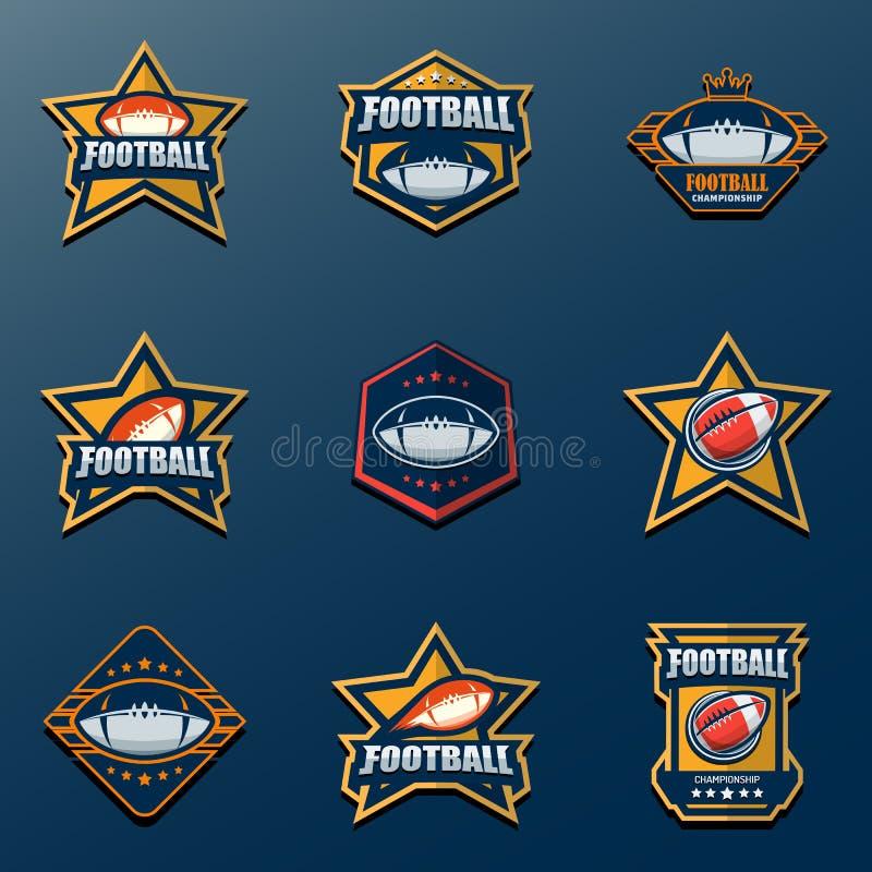 Set futbolu amerykańskiego loga szablon Wektorowi szkoła wyższa logowie Chorzy ilustracji