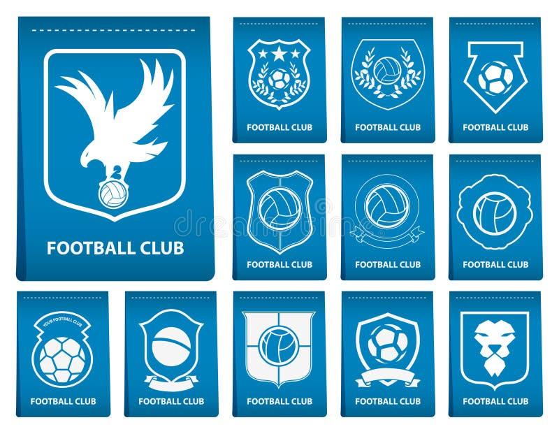 Set futbolu lub piłki nożnej grzebień na błękitnej etykietce w płaskim projekcie Futbolowy loga emblemat Futbolowa odznaka wektor ilustracja wektor