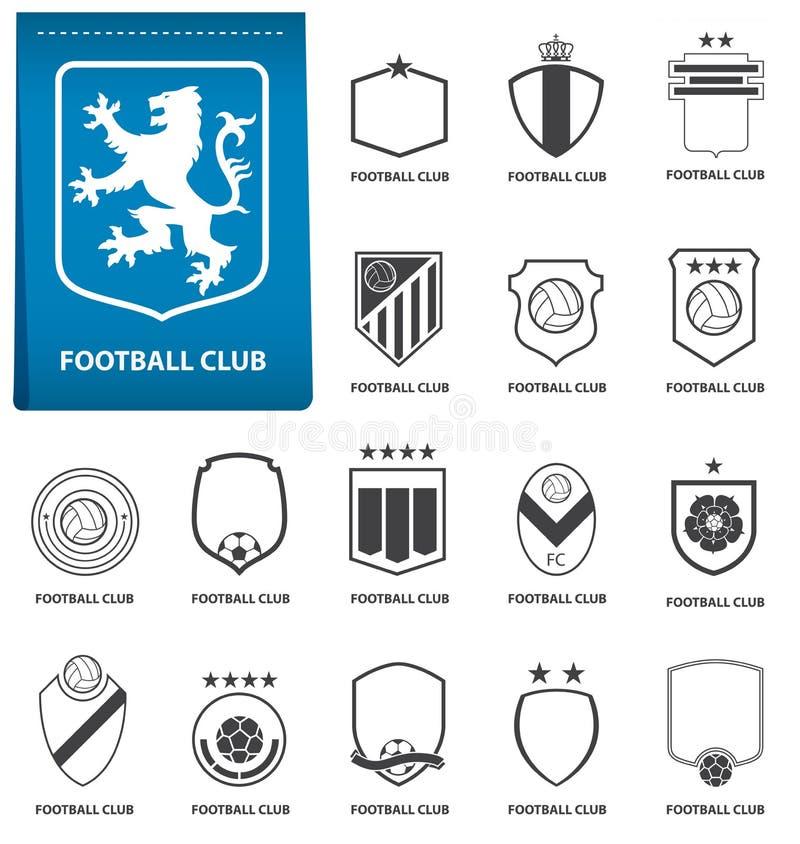 Set futbolu lub piłki nożnej grzebień na błękitnej etykietce w płaskim projekcie Futbolowy loga emblemat Futbolowa odznaka wektor royalty ilustracja