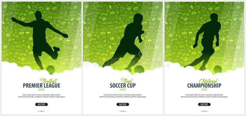 Set futbolu lub piłki nożnej projekt plakaty z ręki remisem doodle elementy i gracz futbolu sylwetkę Piłki nożnej mistrzostwo royalty ilustracja