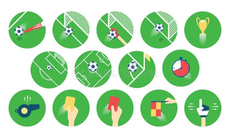 Set futbolu, piłki nożnej ikony/ Zaokrąglone sport ikony W mieszkanie stylu ilustracja wektor
