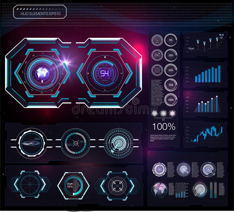 Set of futuristic blue infographics as head-up display. Display navigation elements for the web and app. Futuristic user interface. Virtual graphic. Vector royalty free illustration