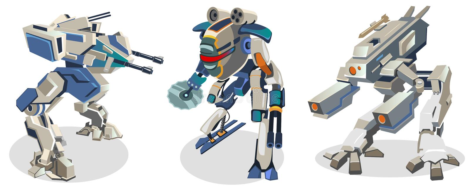 Set of futuristic cartoon space robots isolated on white background. Battle robots in space style. Vector illustration. vector illustration