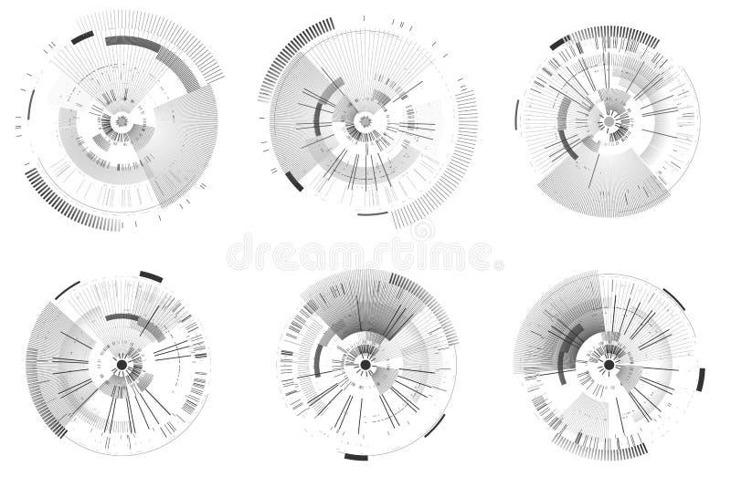 Set of futuristic interface elements. Technology circles. Digital futuristic user interfaces. HUD. Sci fi futuristic templates isolated on white background stock illustration