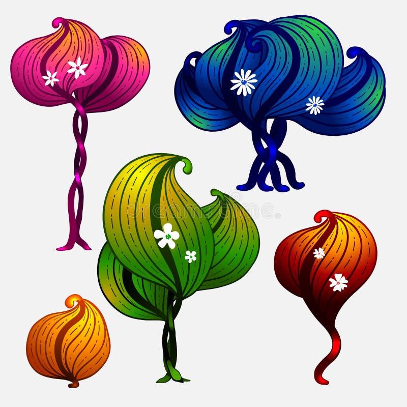 Set futurystyczni drzewa dla gemowego projekta ilustracja wektor