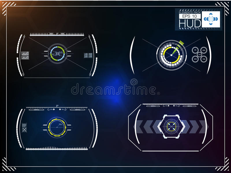 Set futurystyczny błękitny infographics jako głowa pokaz Wystawia nawigacja elementy dla app i sieci ilustracji