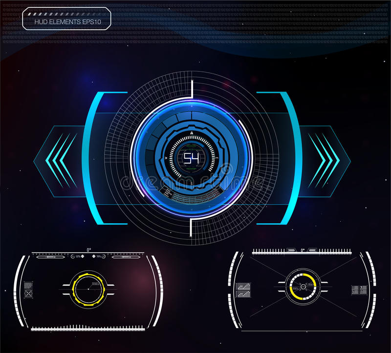 Set futurystyczny błękitny infographics jako głowa pokaz Wystawia nawigacja elementy dla app i sieci royalty ilustracja