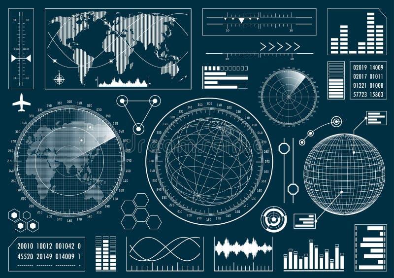 Set futurystyczny interfejs użytkownika HUD royalty ilustracja