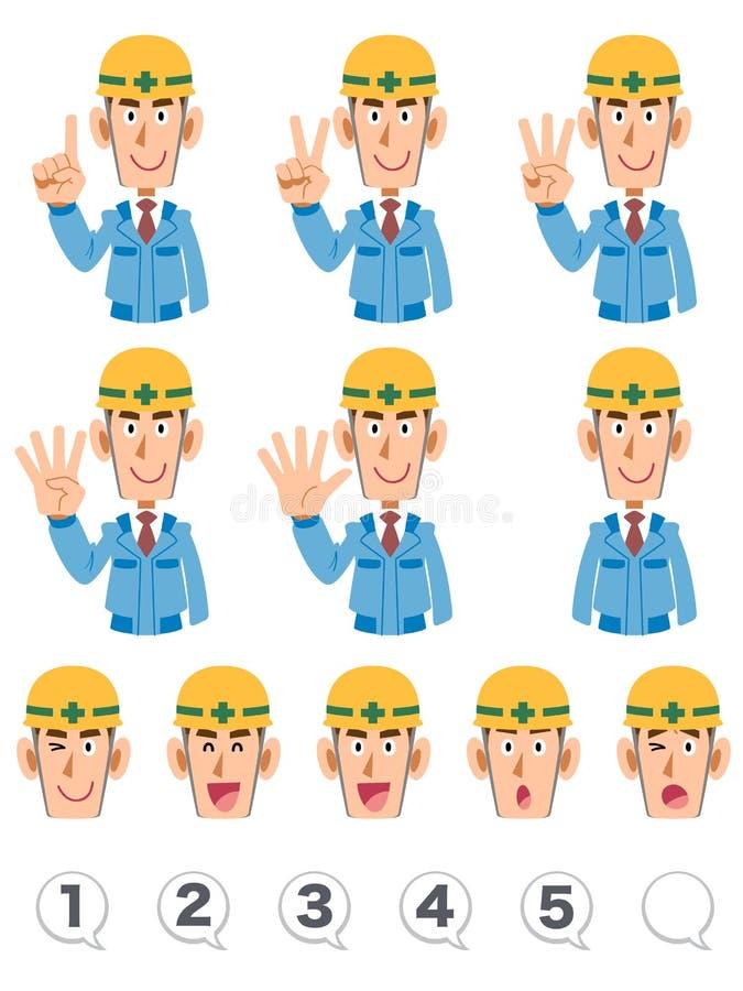 Set górnego ciała wyrażenie i liczby budynków pracownicy jest ubranym błękitnych pracujących ubrania który liczy liczby z palcami ilustracja wektor