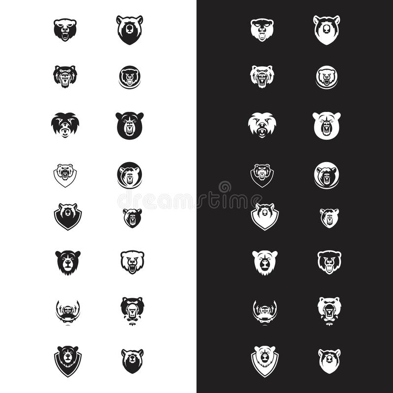 Set głowa niedźwiedzia logo wektor royalty ilustracja