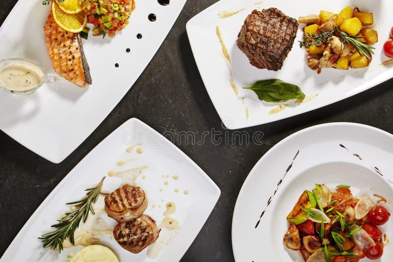 Set główni naczynia z ryba obraz royalty free