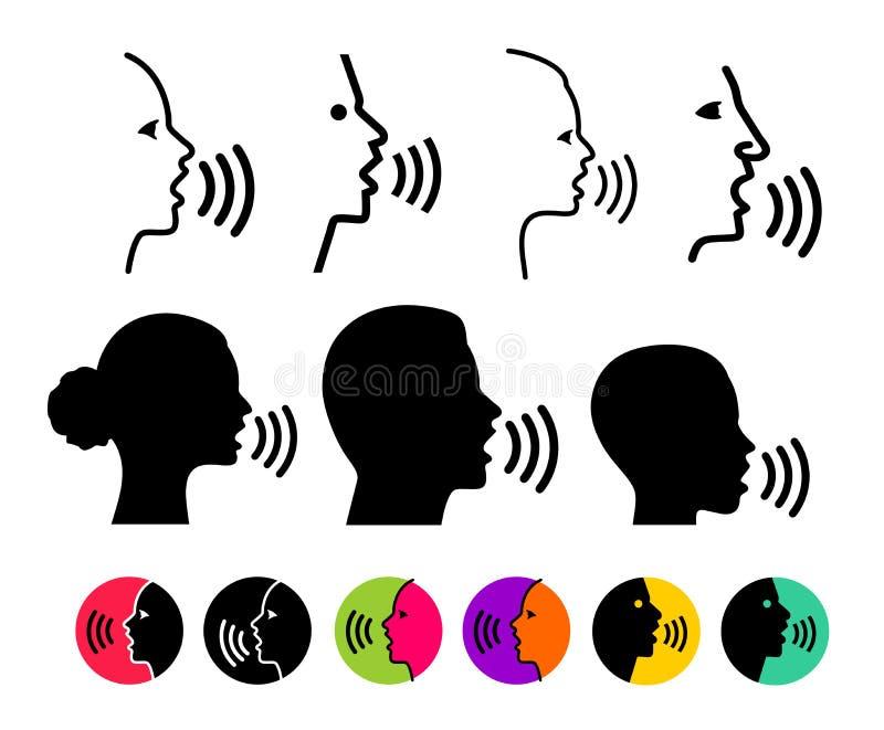 Set głosu rozpoznania pojęcia cienki modny logo Wypowiada kontrolną czerni linię, online, płaski adaptacja projekt dla sieci, wis royalty ilustracja