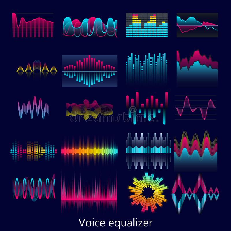 Set głosu wyrównywacza fal projekta szablonu sygnału unaocznienia ilustracja ilustracja wektor