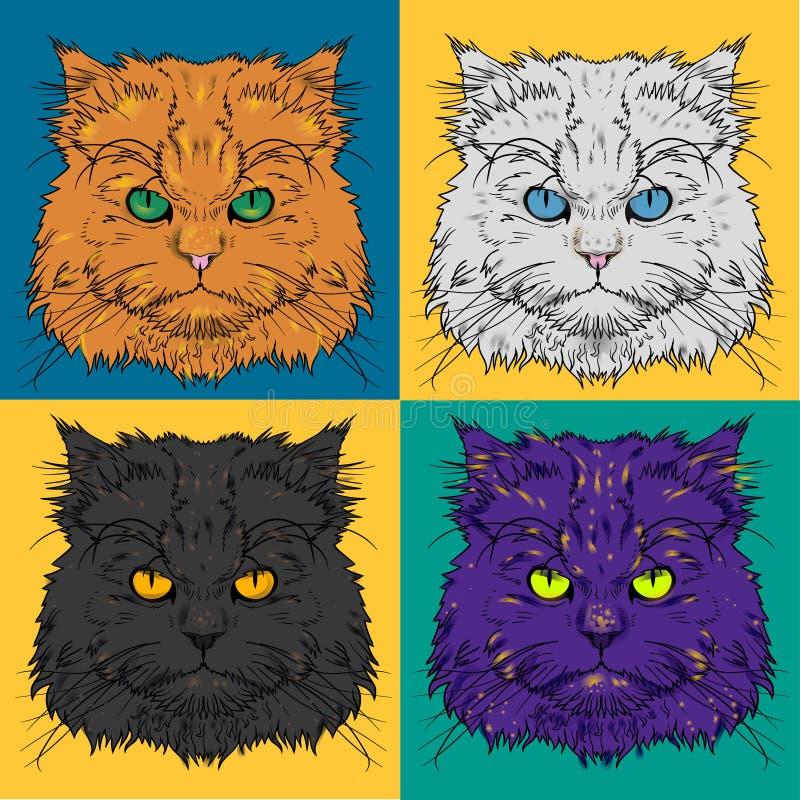 Set głowa Perskiego kota grafika ilustracji