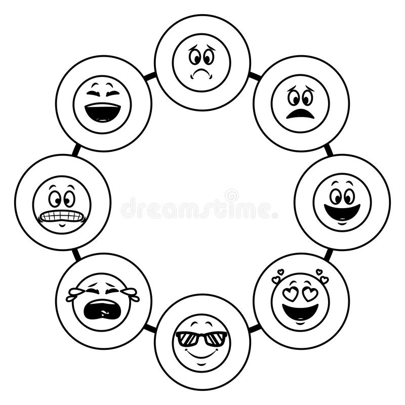 Set gadek emoticons w czarny i biały ilustracji
