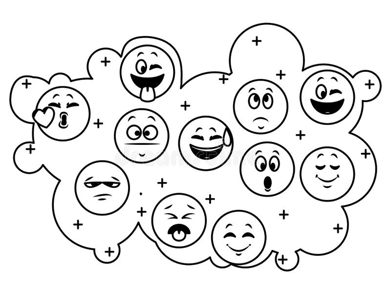 Set gadek emoticons w czarny i biały royalty ilustracja