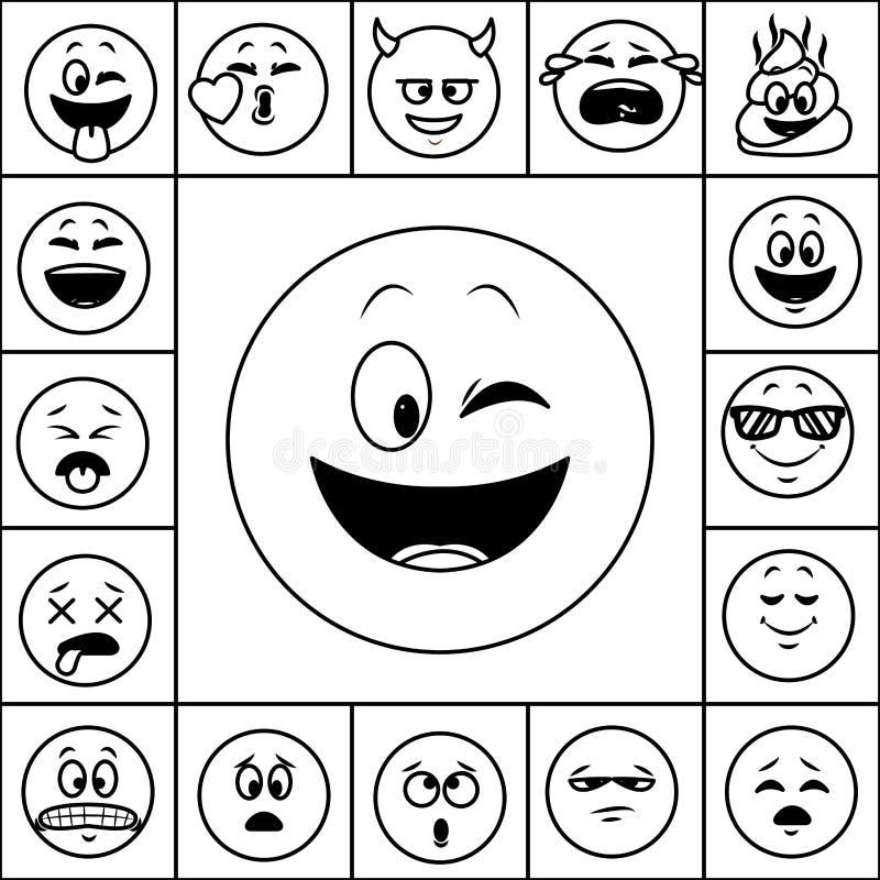 Set gadek emoticons w czarny i biały ilustracja wektor