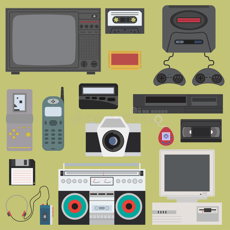 Set of gadget of 90s color icons, design elements. Flat retro style. royalty free illustration