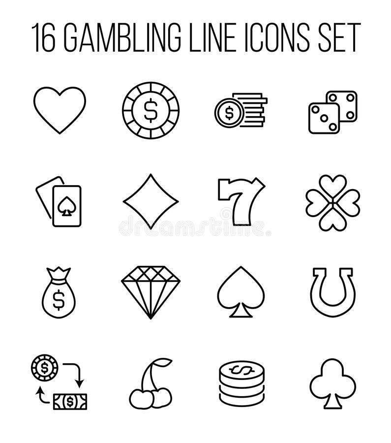 Set of gambling in modern thin line style. High quality black outline casino symbols for web site design and mobile apps. Simple gambling pictograms on a white royalty free illustration