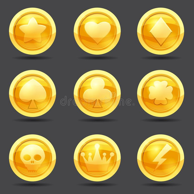 Set of game coins, game interface, gold, vector, cartoon style, isolated. Set of game coins, game interface, gold, vector cartoon style royalty free illustration