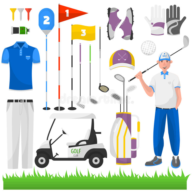 Set of game for golf. Vector icons of sports equipment: ball, cart and bag, grass and car, stick and glove, badge and aristocracy. Club for activity recreation vector illustration