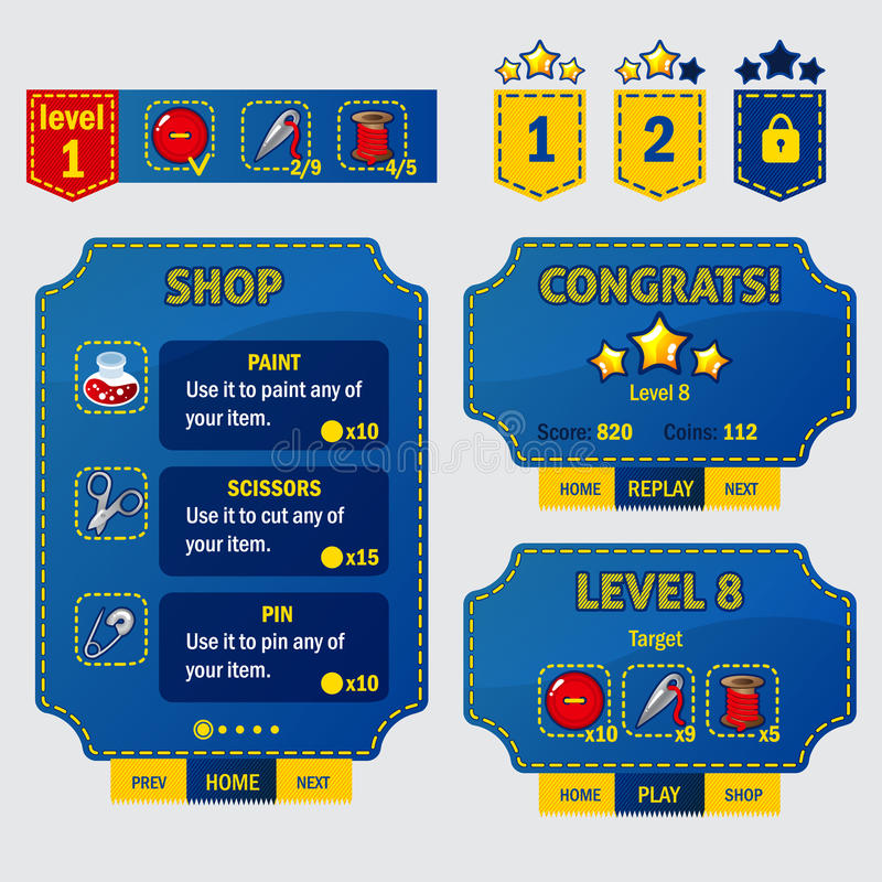 Set of game ui interface screens in sewing stile. Level completed, shop, coosing and target screens. Scissors, pin, needles, thread and button. Pokets with stock illustration
