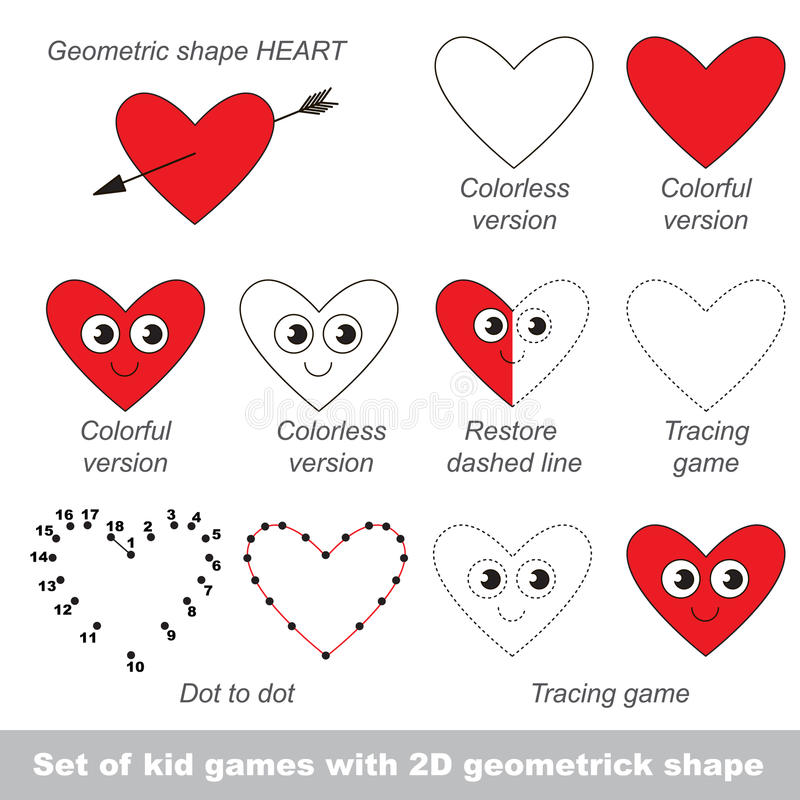 Set of games with shape Heart. vector illustration