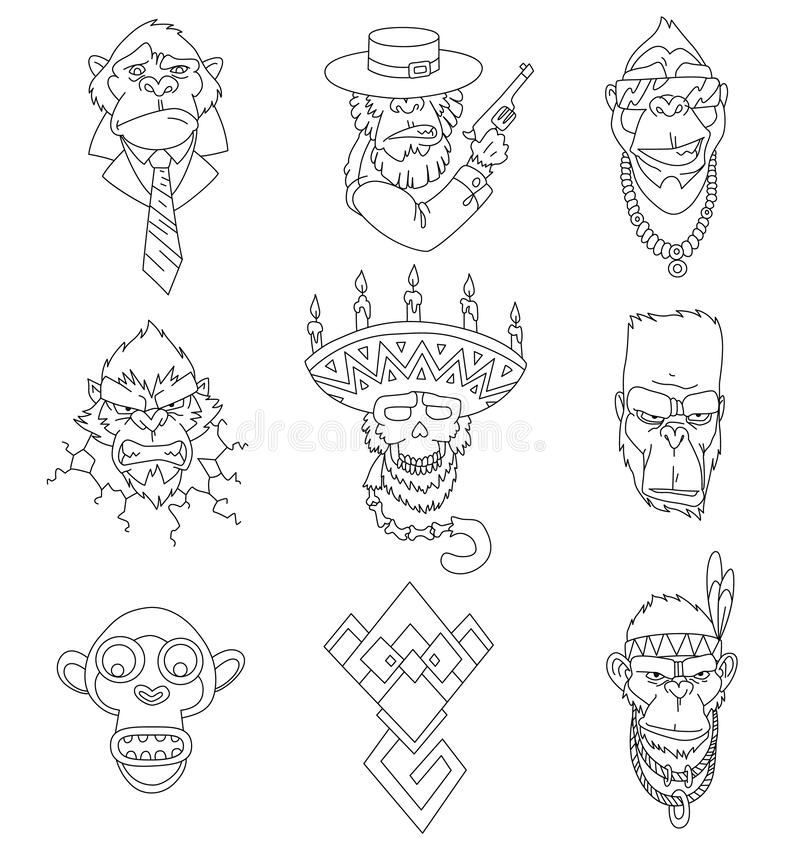 Set of gangster monkeys holding machine gun for coloring book. Vector serios gorilla head in mexican hat. Ape, primate. Wearing business suit and tie, native vector illustration