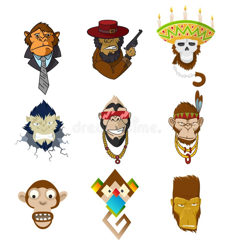 Set of gangster monkeys holding machine gun. Vector serios gorilla head in mexican hat. Ape, primate, wearing business. Suit and tie, native american, indian stock illustration