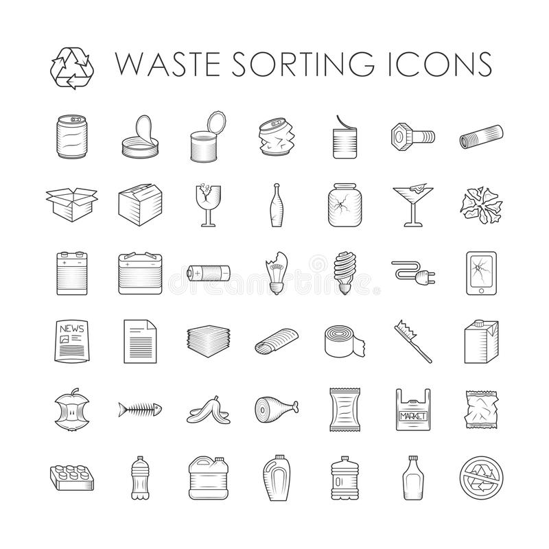 Set of garbage separation recycling related waste sorting outline icons vector. stock illustration