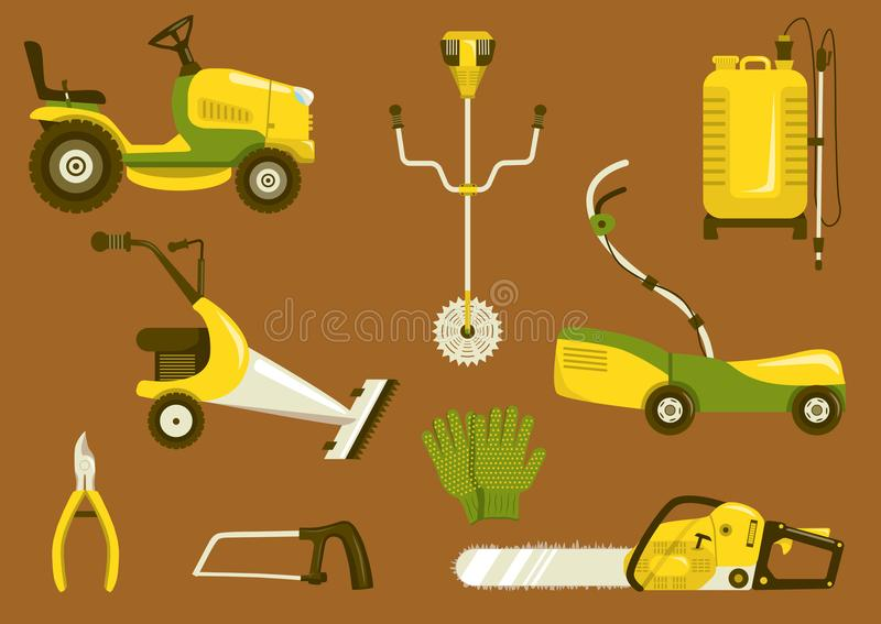Lawn mowers vector icon set. Set of garden equipment for grass mowing. Color vector icons illustration. Lawn mower and other agricultural and farm machinery royalty free illustration