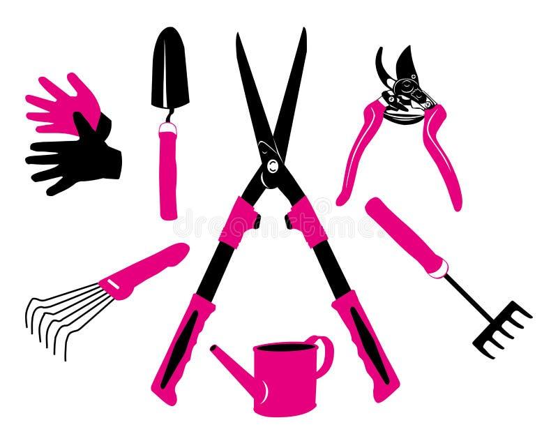 Set of garden tools. Magenta and black on white background. Vector flat illustration vector illustration