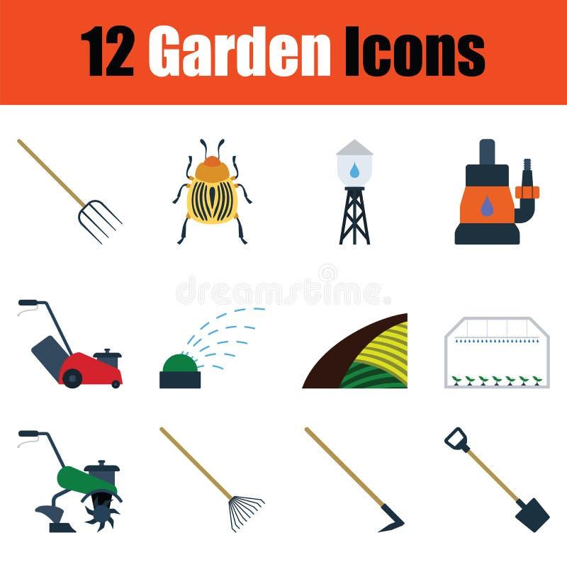 Set of gardening icons royalty free illustration