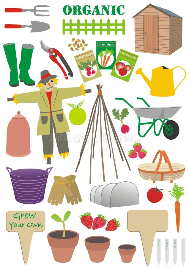 Download Set of gardening signs stock illustration. Illustration of collection - 27217092