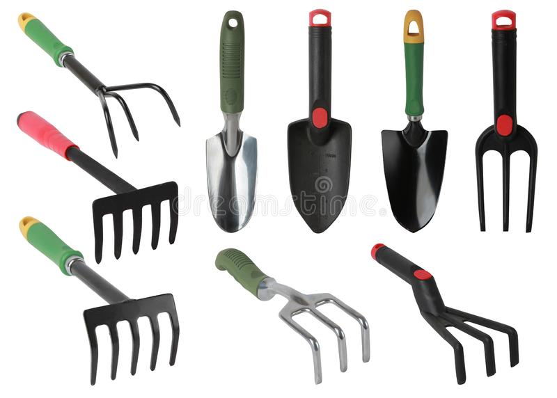 Set of gardening tools, hand Trowels and hand forks isolated stock photos