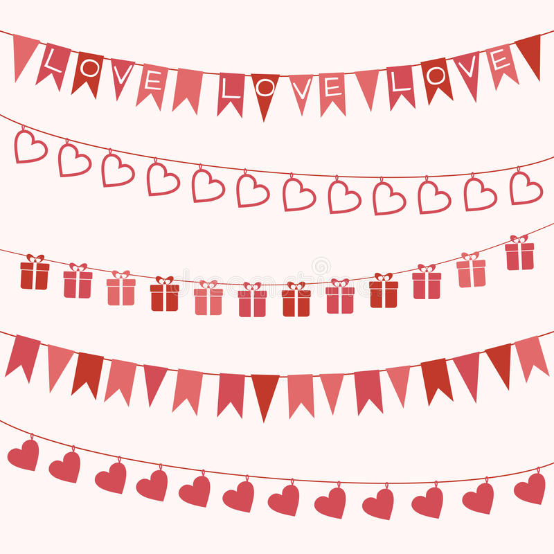 Set of garlands for Valentine's Day or wedding stock illustration