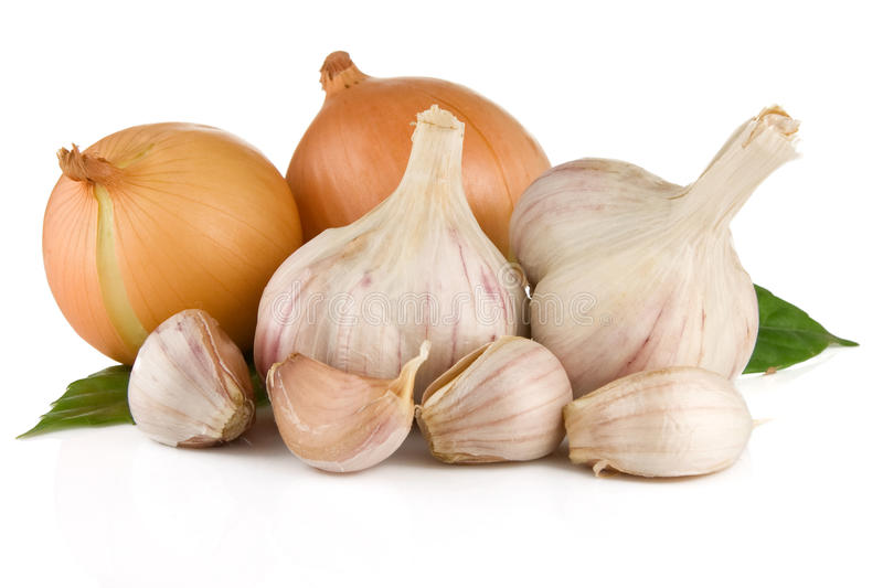 Set of garlic and onion isolated on white. Background royalty free stock images